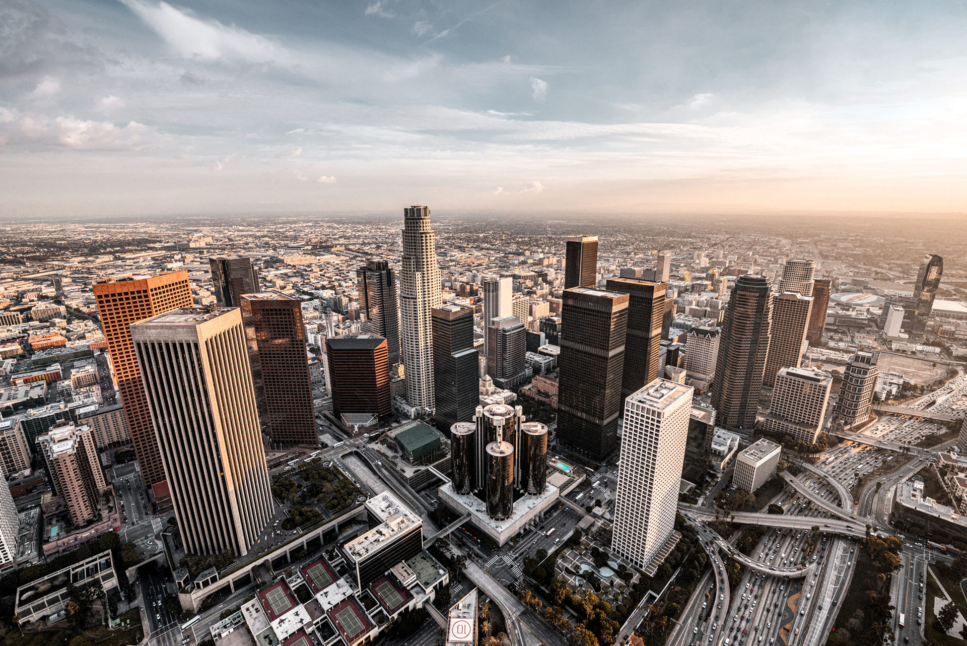 An aerial view of Los Angeles downtown