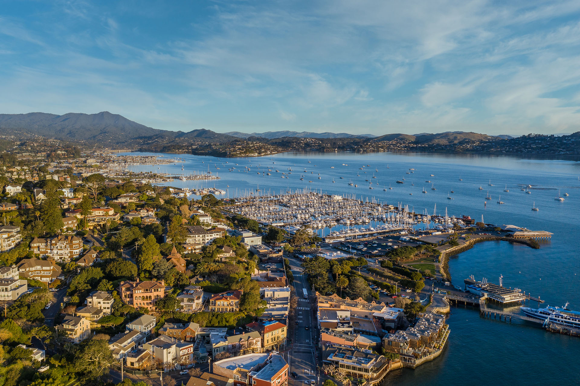 An aerial view of Sausalito with the marina and bay